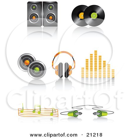 Clipart Illustration of a Collection Of Speaker, Vinyl Record Discs, Headphones, Volume Equalizer, Music Notes And Cable Icons With Shadows by elaineitalia