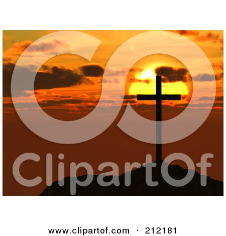 Royalty-Free (RF) Clipart Illustration of a Silhouetted Cross On A Hilltop Against An Orange Sunset by ShazamImages