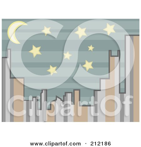Royalty-Free (RF) Clipart Illustration of a City Skyline Of Stripes At Night by mheld