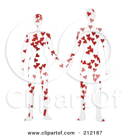 Royalty-Free (RF) Clipart Illustration of a Couple With Hearts On Their Bodies, Holding Hands by mheld