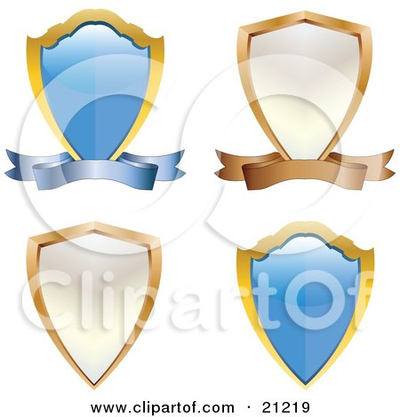 Clipart Illustration of a Collection Of Four Coat Of Arms Shields, Blue And White, With Scrolls by elaineitalia
