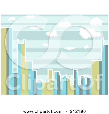 Royalty-Free (RF) Clipart Illustration of a City Skyline Of Stripes During The Day by mheld