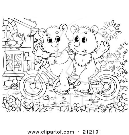 Royalty-Free (RF) Clipart Illustration of a Coloring Page Outline Of Bear Cubs Riding A Bike by Alex Bannykh