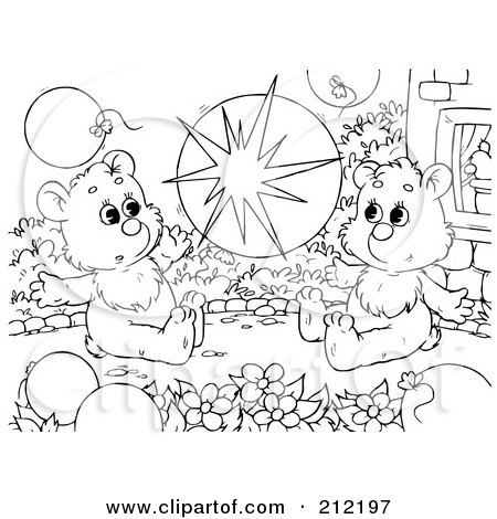 Royalty-Free (RF) Clipart Illustration of a Coloring Page Outline Of Bear Cubs Popping A Balloon by Alex Bannykh