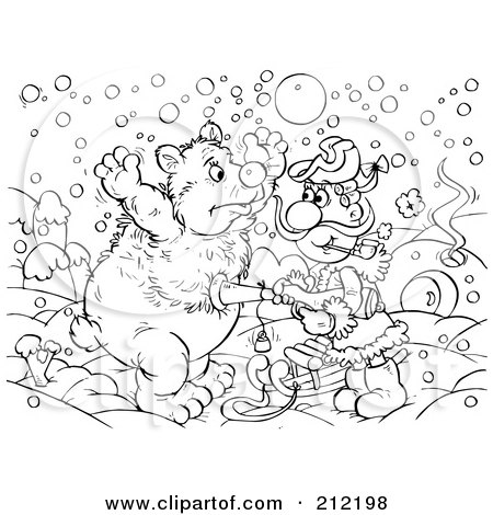 Royalty-Free (RF) Clipart Illustration of a Coloring Page Outline Of A Man Holding A Gun Up To A Bear by Alex Bannykh
