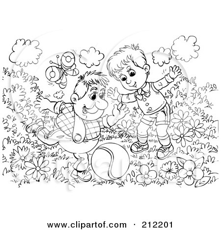 Royalty-Free (RF) Clipart Illustration of a Coloring Page Outline Of A Man And Boy Playing Kick Ball by Alex Bannykh