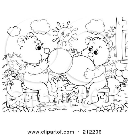 Royalty-Free (RF) Clipart Illustration of a Coloring Page Outline Of Bear Cubs Blowing Up Balloons by Alex Bannykh