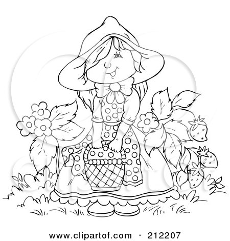 Royalty-Free (RF) Clipart Illustration of a Coloring Page Outline Of A Happy Girl With A Basket By Strawberries by Alex Bannykh