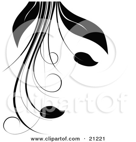 Clipart Illustration Of A Silhouetted Plant With Vines Long Leaves And Flowers Over A White Background