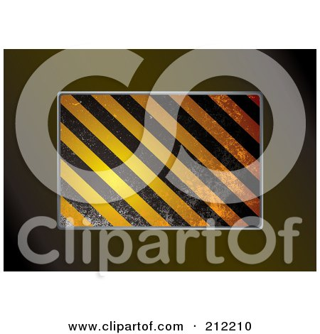 Royalty-Free (RF) Clipart Illustration of Diagonal Grungy Hazard Stripes Bordered By Brown by michaeltravers