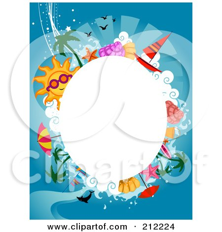 Royalty-Free (RF) Clipart Illustration of a White Oval Framed By Summer Items On Blue by BNP Design Studio