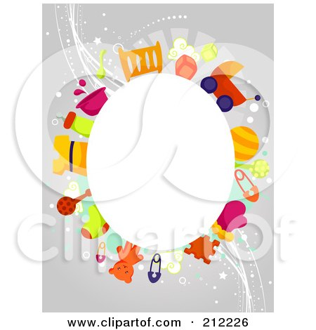 Royalty-Free (RF) Clipart Illustration of a White Oval Framed By Baby Items On Gray by BNP Design Studio
