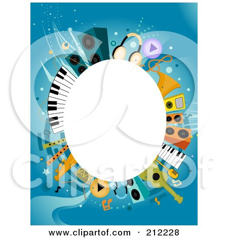 White Oval Framed By Music Items On Blue Posters, Art Prints