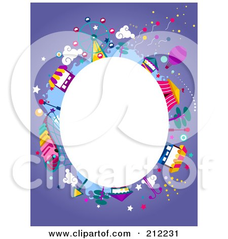 Royalty-Free (RF) Clipart Illustration of a White Oval Framed By Theme Park Items On Purple by BNP Design Studio