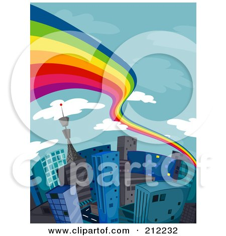 Royalty-Free (RF) Clipart Illustration of a Rainbow Flowing Over A City Of Tall Buildings by BNP Design Studio