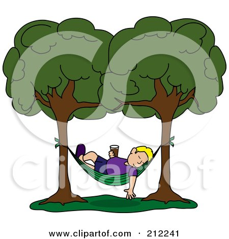 Royalty-Free (RF) Clipart Illustration of a Relaxed Blond Man With A Beverage, Sleeping In A Hammock Between Two Trees by Pams Clipart