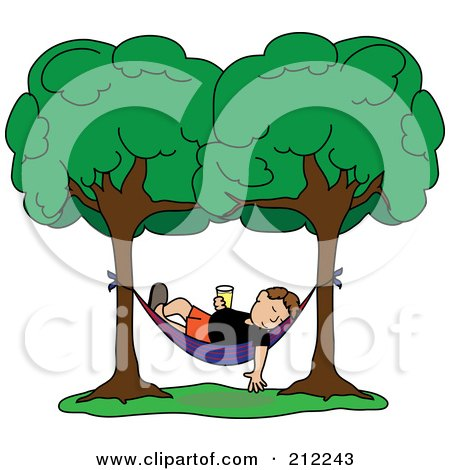 Royalty-Free (RF) Clipart Illustration of a Relaxed Brunette Man With A Beverage, Sleeping In A Hammock Between Two Trees by Pams Clipart
