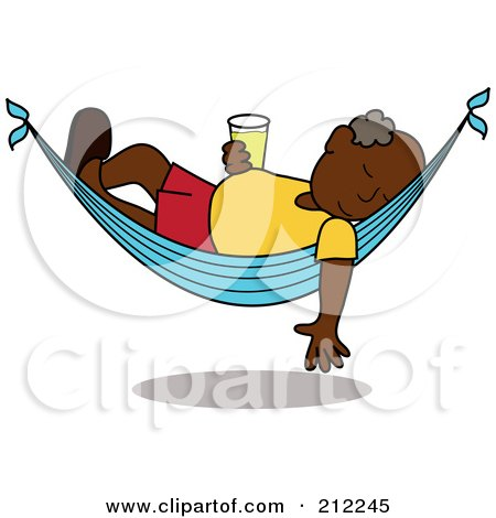 Royalty-Free (RF) Clipart Illustration of a Relaxed Black Senior Man With A Beer, Sleeping In A Hammock by Pams Clipart