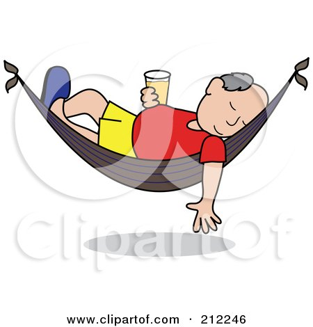 Royalty-Free (RF) Clipart Illustration of a Relaxed Senior Caucasian Man With A Beer, Sleeping In A Hammock by Pams Clipart