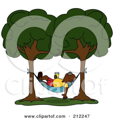 Royalty-Free (RF) Clipart Illustration of a Relaxed Senior Black Man With A Beverage, Sleeping In A Hammock Between Two Trees by Pams Clipart