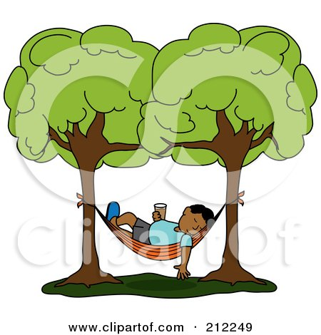 Royalty-Free (RF) Clipart Illustration of a Relaxed Hispanic Man With A Beverage, Sleeping In A Hammock Between Two Trees by Pams Clipart