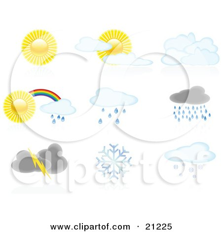 Collection Of Icons Showing Full Sun, Partly Cloudy, Cloudy, Rainbows, Showers, Storms, And Snowflakes Posters, Art Prints