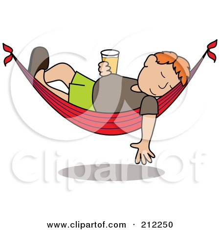 Royalty-Free (RF) Clipart Illustration of a Relaxed Red Haired Caucasian Man With A Beer, Sleeping In A Hammock by Pams Clipart