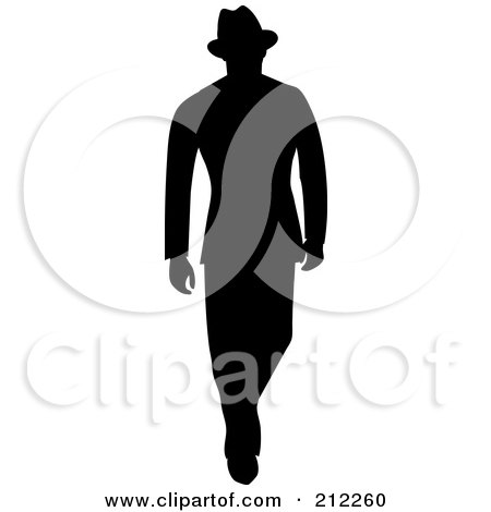 Royalty-Free (RF) Clipart Illustration of a 40s Styled Silhouetted Businessman Walking by Pams Clipart