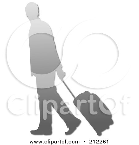 Royalty-Free (RF) Clipart Illustration of a Silver Silhouetted Businessman Walking And Pulling Rolling Luggage by Pams Clipart
