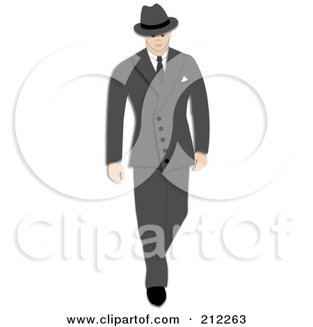 Royalty-Free (RF) Clipart Illustration of a 1940s Styled Caucasian Businessman Walking In A Gray Suit by Pams Clipart
