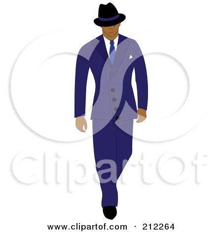 Royalty-Free (RF) Clipart Illustration of a 40s Styled Hispanic Businessman Walking In A Blue Suit by Pams Clipart