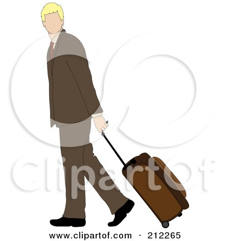 Royalty-Free (RF) Clipart Illustration of a Faceless Blond Caucasian Businessman Walking And Pulling Rolling Luggage by Pams Clipart