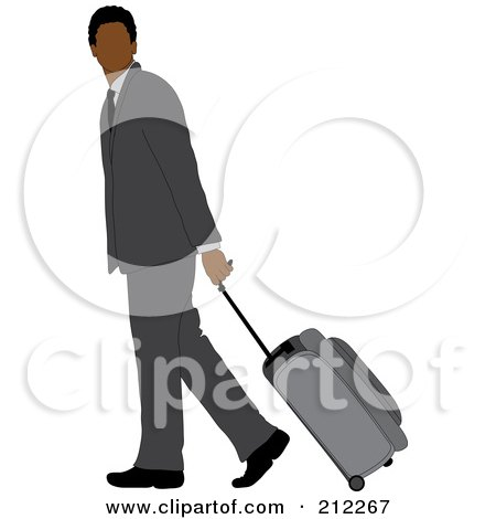 Royalty-Free (RF) Clipart Illustration of a Faceless Black Businessman In A Gray Suit, Walking And Pulling Rolling Luggage by Pams Clipart