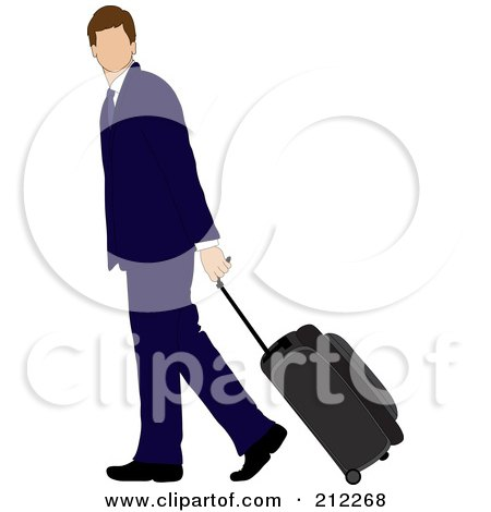 Royalty-Free (RF) Clipart Illustration of a Faceless Brunette Caucasian Businessman Walking And Pulling Rolling Luggage by Pams Clipart