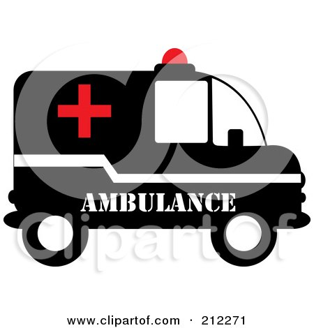 Royalty-Free (RF) Clipart Illustration of a Red, Black And White Ambulance In Profile by Pams Clipart