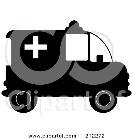 Royalty-Free (RF) Clipart Illustration of a Black And White Ambulance In Profile by Pams Clipart