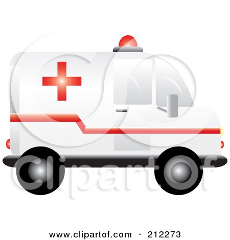 Royalty-Free (RF) Clipart Illustration of a Medic Ambulance In Profile by Pams Clipart