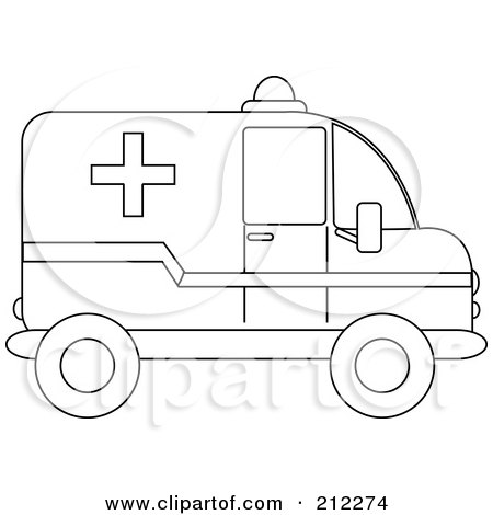 Royalty-Free (RF) Clipart Illustration of an Outlined Ambulance In Profile by Pams Clipart