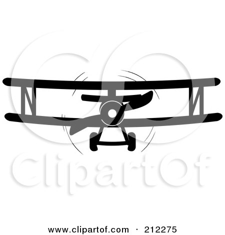 Royalty-Free (RF) Clipart Illustration of a Black And White Biplane In Flight by Pams Clipart