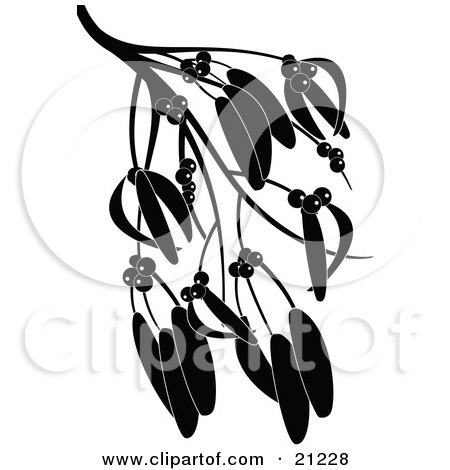 Clipart Illustration of a Silhouetted Tree Branch With Berries And Seed Pods Or Leaves by elaineitalia