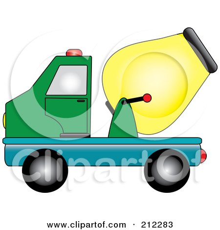 Royalty-Free (RF) Clipart Illustration of a Green, Blue And Yellow Cement Truck In Profile by Pams Clipart