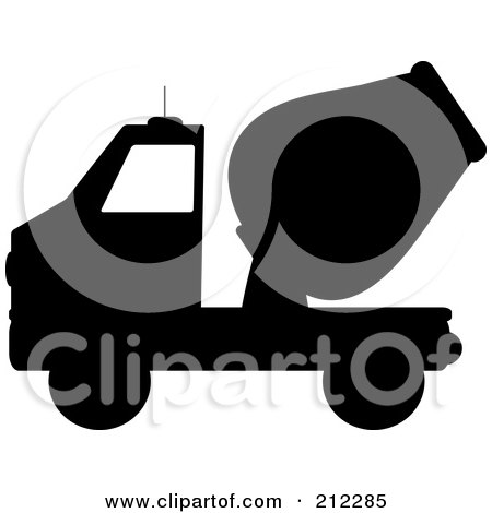 Royalty-Free (RF) Clipart Illustration of a Black Silhouetted Cement Truck In Profile by Pams Clipart