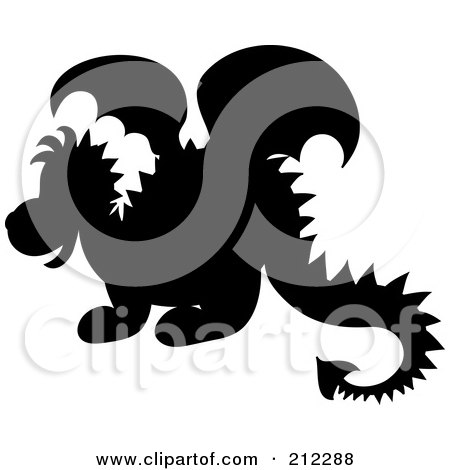 Royalty-Free (RF) Clipart Illustration of a Cute Silhouetted Baby Dragon In Profile by Pams Clipart