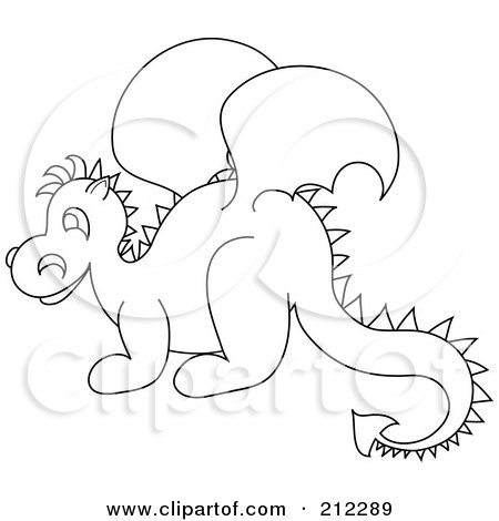 Royalty-Free (RF) Clipart Illustration of a Cute Outlined Baby Dragon In Profile by Pams Clipart