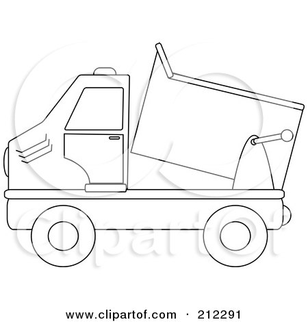 Royalty-Free (RF) Clipart Illustration of a Coloring Page Outline Of A Dump Truck by Pams Clipart