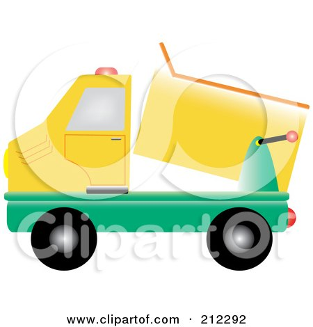 Royalty-Free (RF) Clipart Illustration of a Yellow And Green Dump Truck by Pams Clipart
