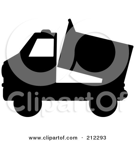 Royalty-Free (RF) Clipart Illustration of a Black Silhouetted Dump Truck by Pams Clipart