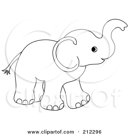 Cute Outlined Baby Elephant Holding His Trunk Up Poster Art Print 212296