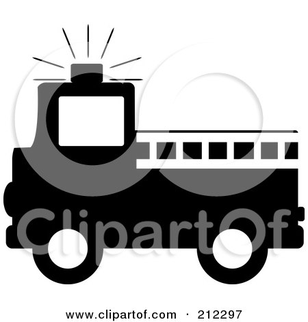 Royalty-Free (RF) Clipart Illustration of a Black Silhouetted Fire Truck With A White Ladder by Pams Clipart