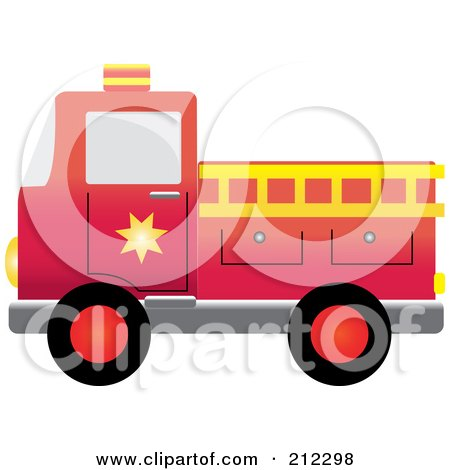 Royalty-Free (RF) Clipart Illustration of a Red Fire Engine With A Yellow Ladder by Pams Clipart
